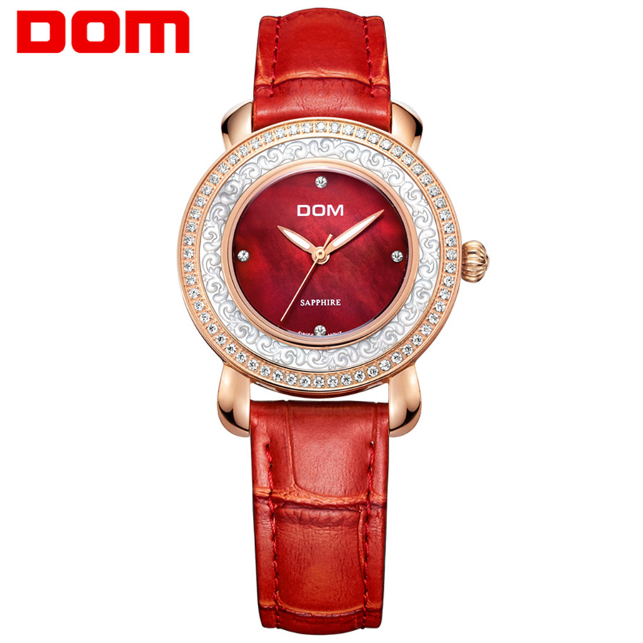 DOM Fashion Quartz Women Watch Rhinestone Leather Casual Dress Watches Rose Gold Ladies clock relogio feminino montre femme купить