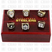 Team Logo Wooden Case 6pcs Set 1974 1975 1978 1979 2005 2008 Pittsburgh Steelers Super Bowl