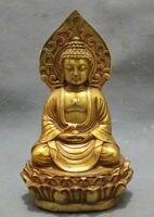 5.5inch/Collect gold plated bronze pray bless shakyamuni Buddha statue in Tibet