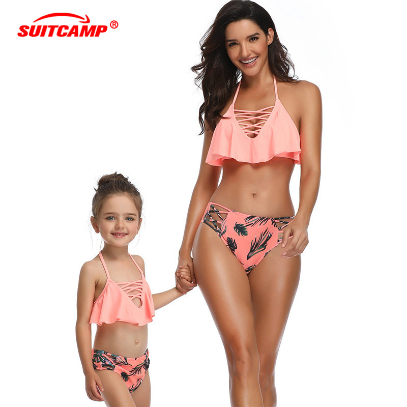 Kids Swimwear  Girls Bathing Suit  Parent-child Swimsuit Fashion Bikini Flying Edge Mother And Daughter Swimsuit For Women