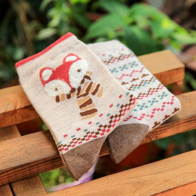 БИЖУ Женщины Хлопчатобумажные Носки Осенью и Зимой Милые Животные Повседневная Вязать Шерсть Длинный Harajuku Носки Теплый Движение Для Женщин