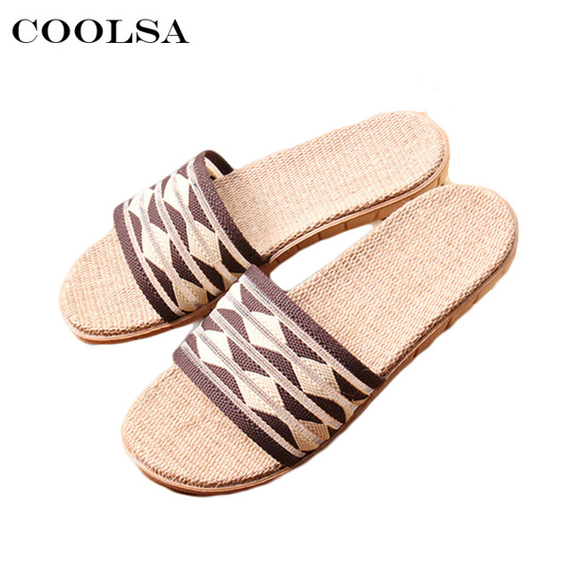 a4e92ca6dc0a9 New Summer Man Indoor Flip Flop Hemp Linen slippers Flax Stripe Fabric  Slides Flat Non Slip Unisex Fashion Man Casual Beach Shoe