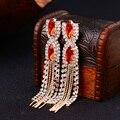 Qualidade gema vermelha austríaco borla projeto longo vestido formal das senhoras brincos E060