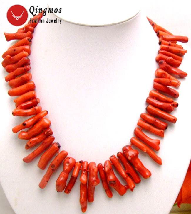 """Qingmos Genuine Natural Red Coral Necklace for Women with 8*40mm Branch Shape 20"""" Coral Chokers Necklace Fine Jewelry nec5533