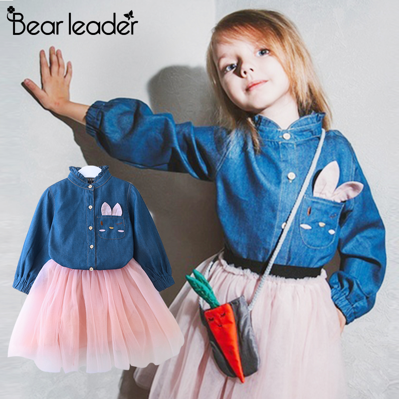 Bear Leader Girls Dress Casual Style Christmas Dress Long Sleeve Denim Cartoon Embroidery Shirt+Mesh Dress 2pc for Girls Clothes laser cut insert bishop sleeve embroidery dress