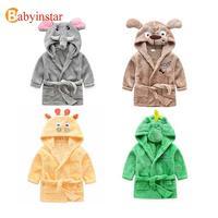 2014 New Children Cartoon Robes Animal Cat Boys Girls Cotton Pajamas Baby Bathrobe Romper Home Wear