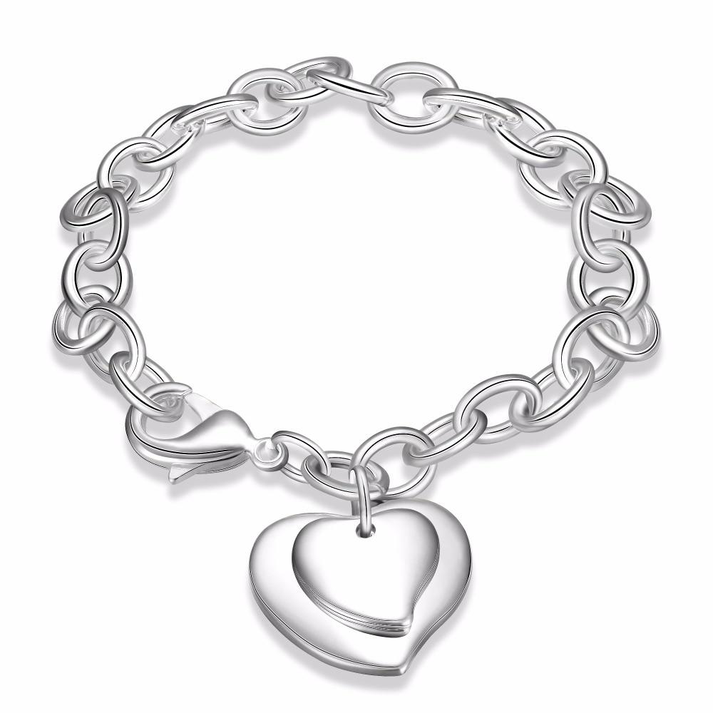 Women's double heart shrimp buckle bracelet 925 solid silver plated charm heart 8'' thick bracelet bangle Luxury de Prata bijoux