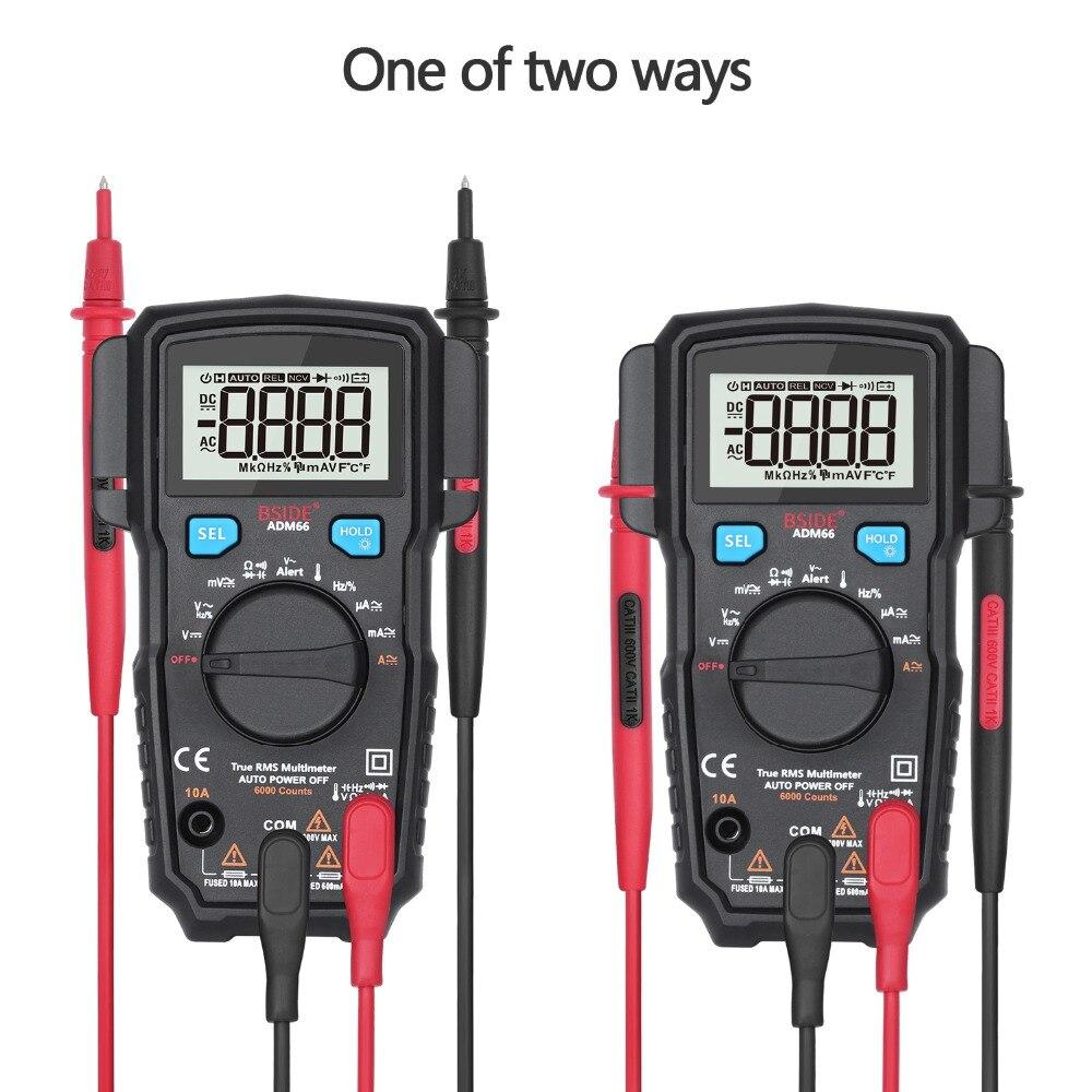 BSIDE ADM multímetro Digital Auto rango True-RMS/TRMS medidor multímetro capacitancia ohm Hz Temp NCV prueba de diodo