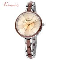 Luxury KIMIO Brand Elegant Ladies Logo Watch Quartz Stainless Steel Watches Women Dress Girl Fashion Ceramic