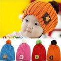 2015 new children's beanies wool knitted crochet children beanies with pomp 1-5 years old adjustable