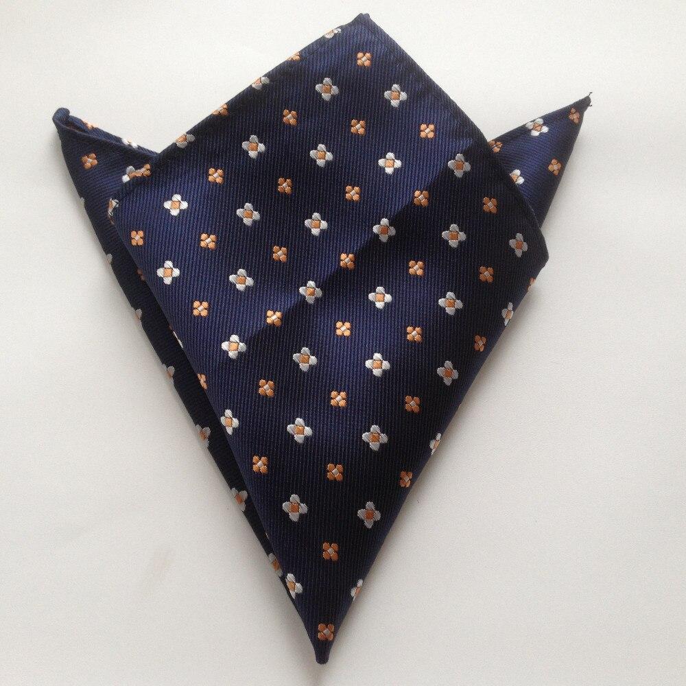 Джентльменский набор галстуков 8 см, деловой галстук темно-синего цвета с белым оранжевым цветочным галстуком, тканый носовой платок высокого уровня