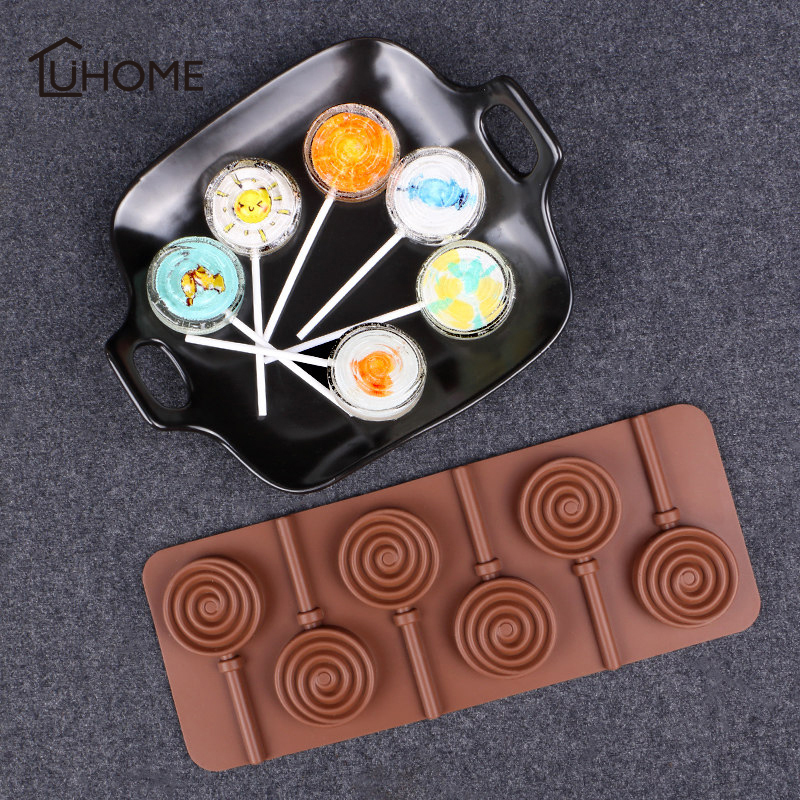 1pc Doughnut Flower Shape Lollipop Pop 6 Lattices Mould Silicone Party Cake Cookie Candy Chocolate Maker DIY Baking Tool Tray