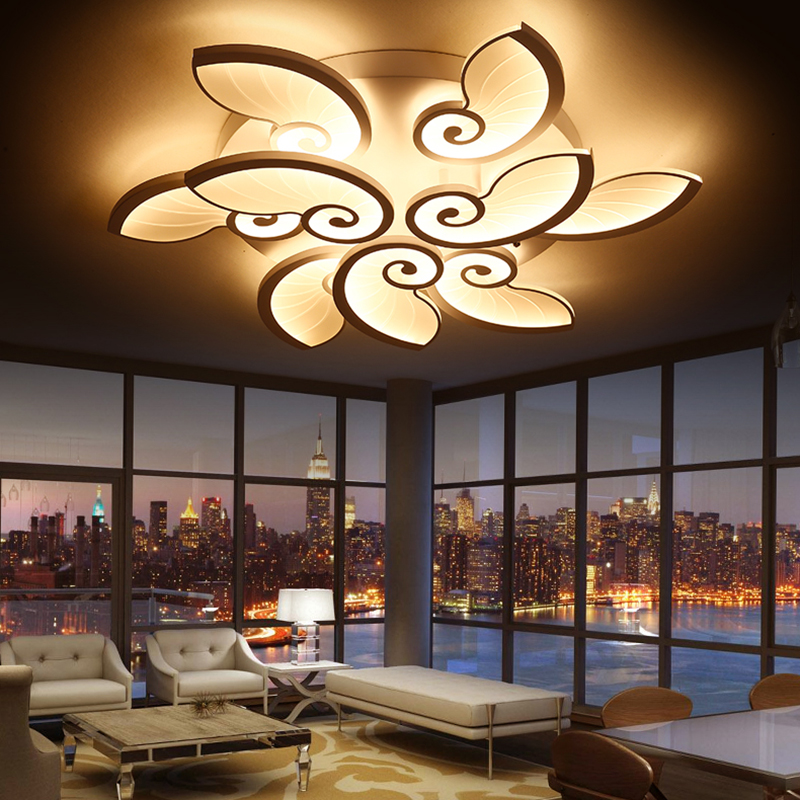 Modern LED Chandelier Acrylic Lamps Living Room Bedroom Study Chandelier Ceiling Lamps AC90-260V Home Lighting Free Shipping