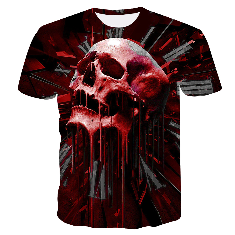 High quality men's t-shirt 3D printed splash skull and clock unisex short-sleeved tops Summer quick-drying round neck T-shirt