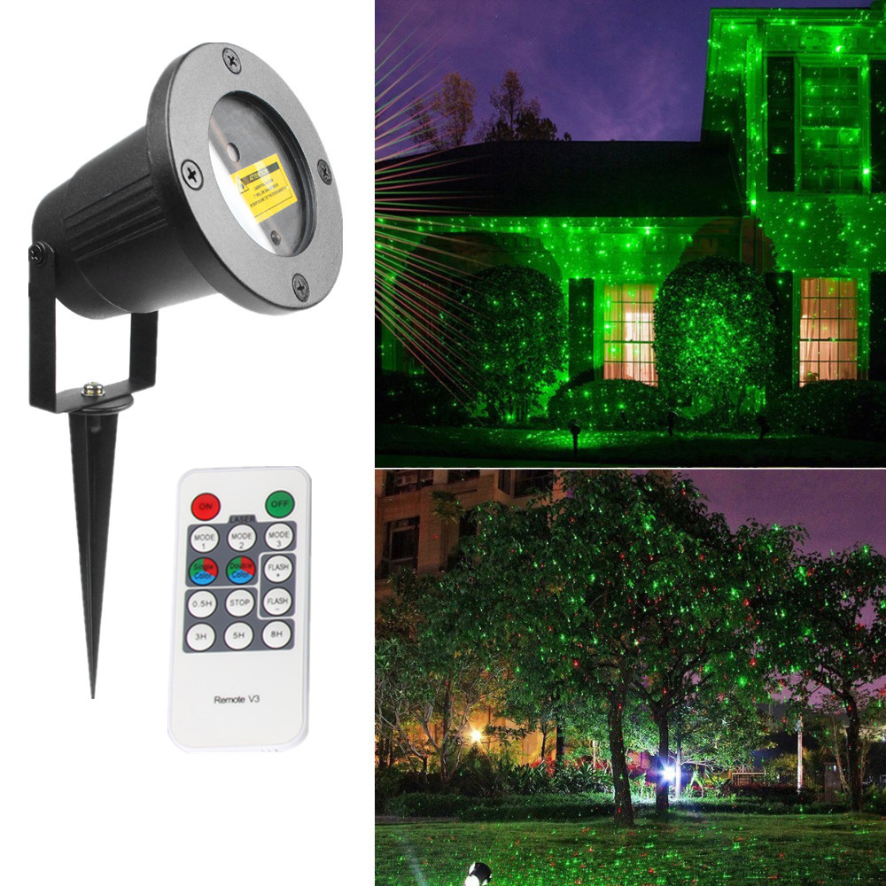 Christmas Laser Projector Stars Red Green Stage Light With Timer Function Waterproof home Garden Landscape Lawn Decoration Light
