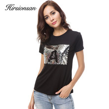 Hirsionsan T Shirt Women 2018 Summer customize Printed Sequined Top Women's Short Sleeve T- Shirts 6 Colors Write Letters Tee(China)