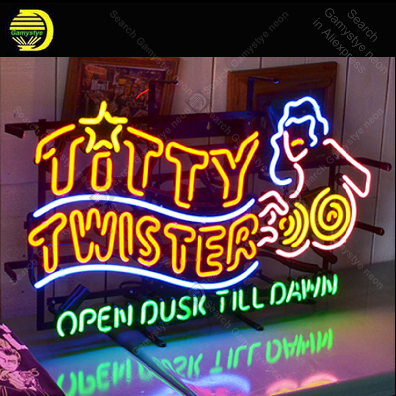 TITTY TWISTER Neon sign OPEN DUSK Glass Tube Bulb Light icons light Lamps display Signboard Handmade neon light for room wall image