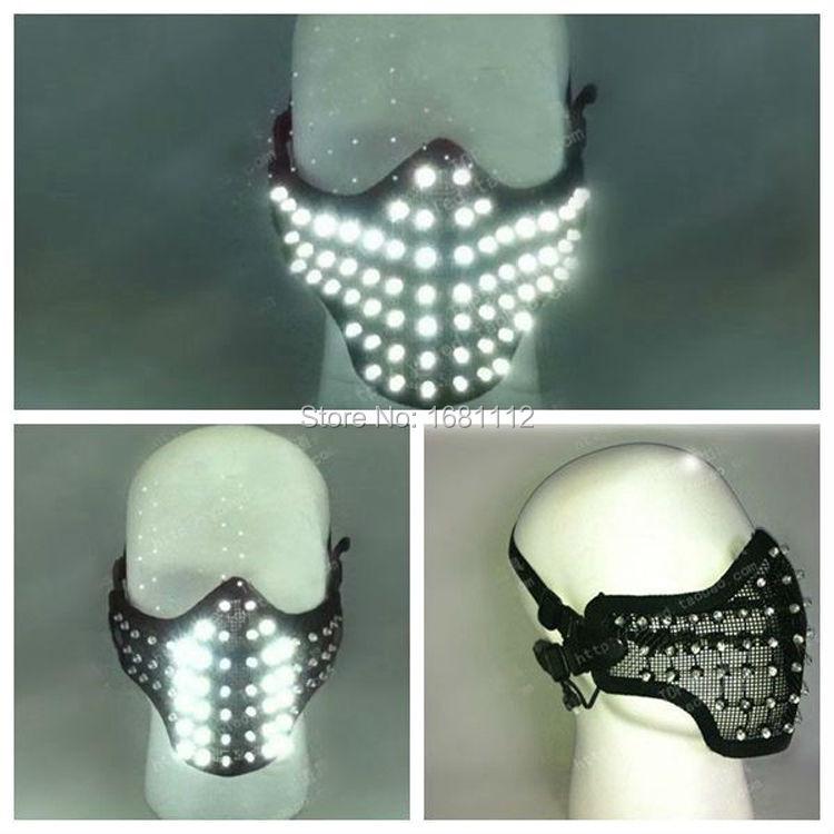 LED blanc brillant lumière masque héros visage garde DJ masque fête Halloween anniversaire LED masques pour spectacle