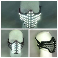 LED white Glowing Light Mask Hero Face Guard DJ mask Party Halloween Birthday LED Masks for show