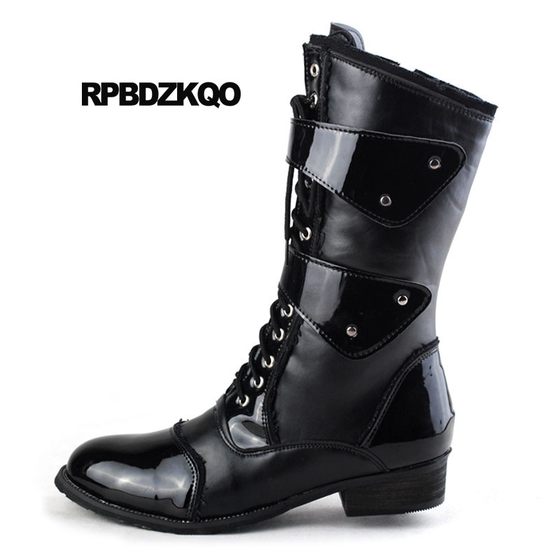 Army Lace Up Military European Mid Calf Chunky Zipper Combat Shoes Italian Waterproof Fall Black Mens Patent Leather Boots 2018 mens winter boots warm military mid calf durable army 2017 fashion combat motorcycle high top shoes lace up autumn black male