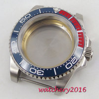 40mm Sapphire Glass ceramic bezel Date Watch Case fit 2836 miyota 82 series movement mens watch