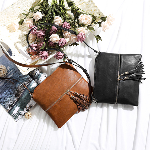 REALER women shoulder bags artificial leather messenger bags for ladies with tassel high quality crossbody bag female fashion Lahore