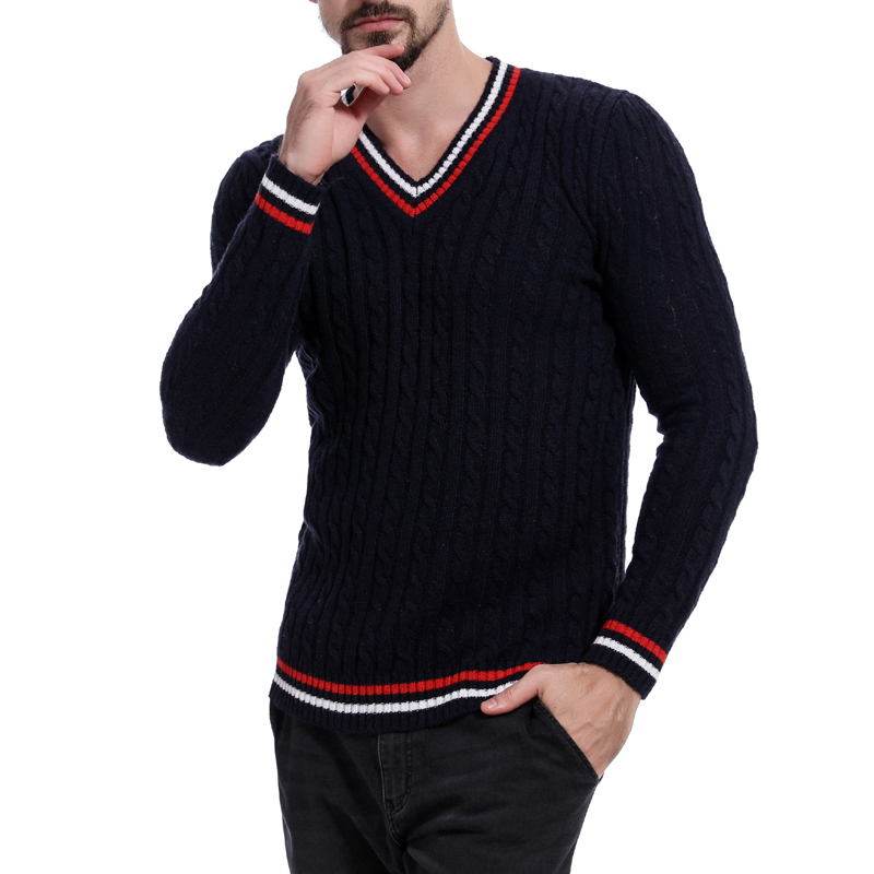 2019 Autumn Men Fashion Sweater Solid Cotton V-neck Knitted Sweater Male Winter Casual Preppy Style Long Sleeve Slim Sweater