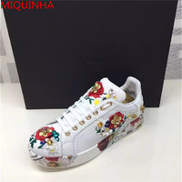 Spring Autumn Flower Print White Leather Women Flat Causal Shoes Multicolor Floral Embellished Lace Up Platform
