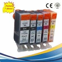 5x PGI 520 PGI520 PGI-520 PGI-520XL CLI 521 XL Inkjet Cartridges For Canon Pixma MP540 MP550 MP560 MP620 MP630 MP640 Ink Printer