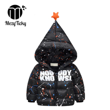 купить Winter Baby Fashion Coat Children Down Cotton Clothes Boy Letter Pattern Coat Girl Spots Hooded Outerwear Kids Windproof Jackets дешево