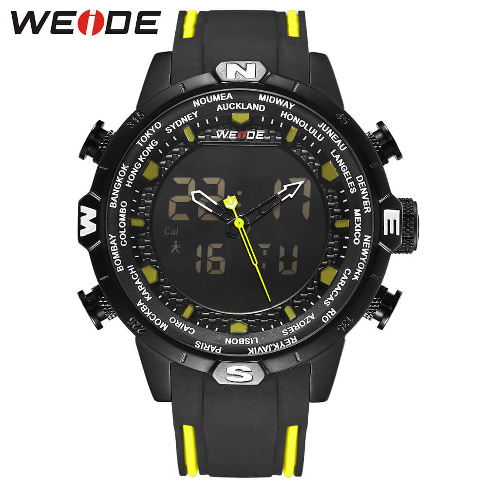 WEIDE Genuine Silicone LCD digital men's watch sport luxury brand clock saat fitness bracelet Water Resistant Black Quartz watch