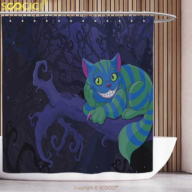 Decorative Shower Curtain Alice In Wonderland Decorations Collection Chester Cat Sitting On Branch Fairy Forest Character