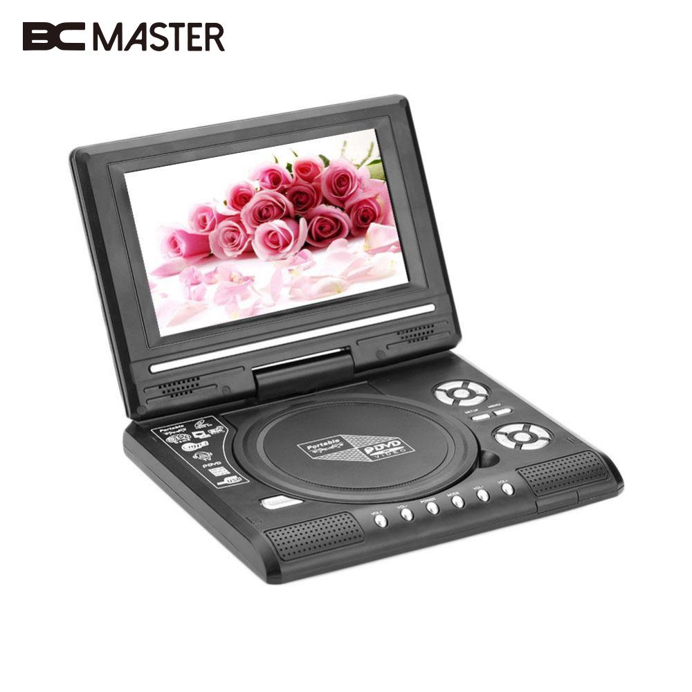 BCMaster high quality 7.0 HD LCD DVD Player Rechargeable 270 degree Swivel Screen For Digital Video Player TV Game USB FM Radio 2018dvd player game player blu ray player portable rotatable 270 degree lcd gamepad 12v audio
