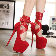 2016 Women's Sexy Platform Round Toe t Cross Straps Ultra Thin Heels High Heeled 19cm Pumps Girls Red Knot Shoes Wedding Shoes