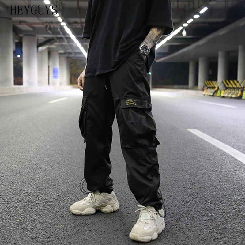 Sweatpants Men Trousers Orange Multi-Pocket Elastic-Waist Casual Jogger Silver Male Streetwear