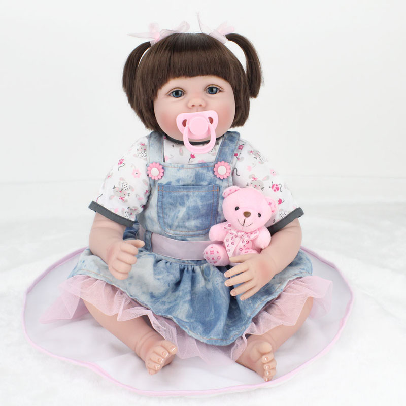 ФОТО Lovely Fat Girl Baby 22inch Silicone Reborn Dolls Toys 55cm Reborn Babies Boneca Newborn Baby Toys Realistic Lifelike Brinquedos