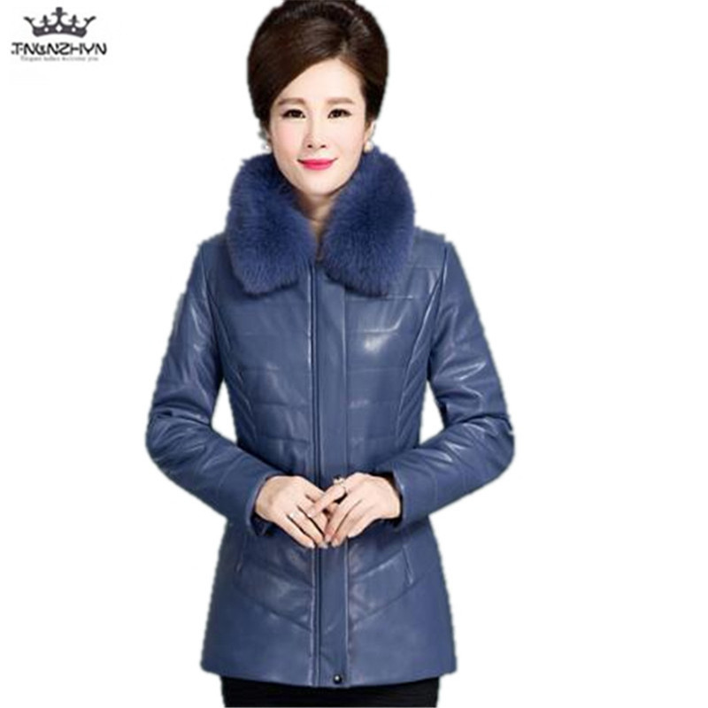 tnlnzhyn 2017 New Winter Middle aged Women Fashion Thick Fur Collar Leather Jacket Women Winter Down Cotton PU Leather Coat Y783