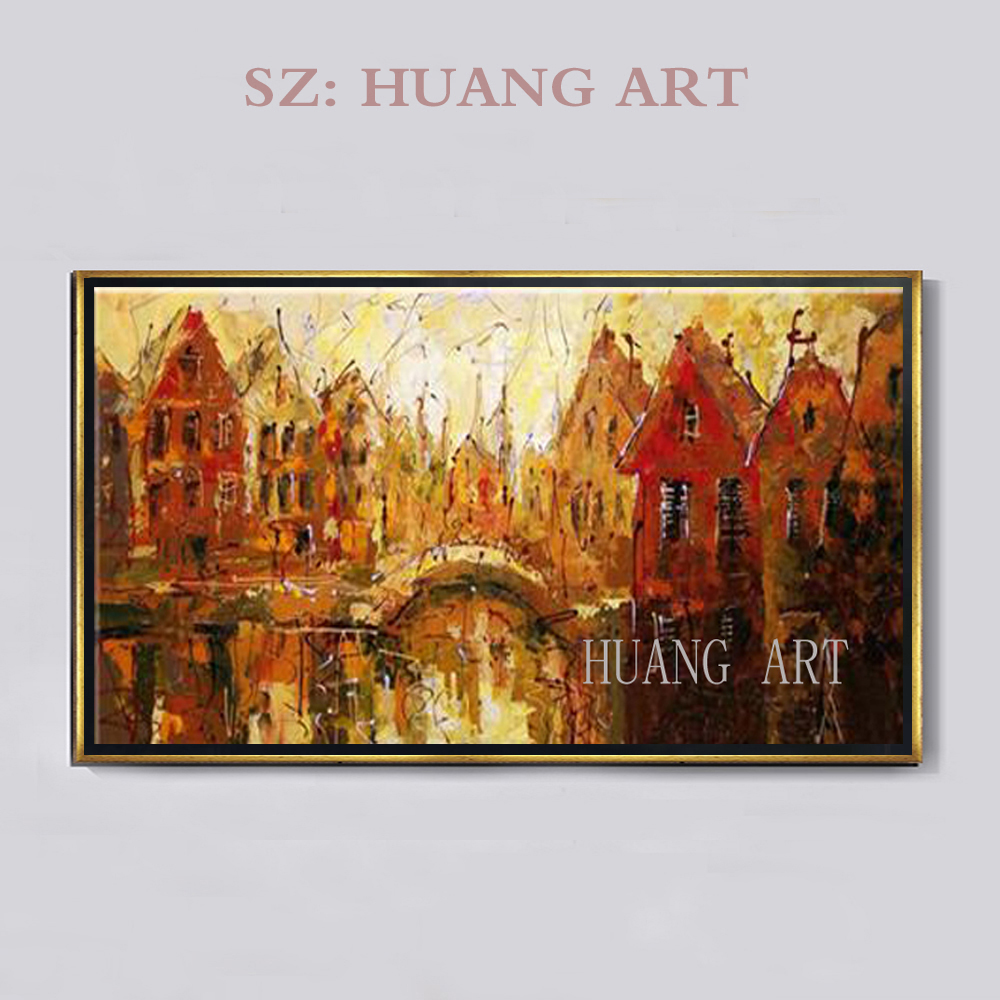 Lobby club coffee house hotel urban architecture modern abstract oil painting printmaking wall free shipping decoration artist f