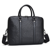 Men's Bag Genuine Leather Briefcase Large Shoulder Bag Woven Fashionable Computer Bag