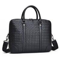Men's Bag Genuine Leather Briefcase Large Shoulder Bag Woven Fashionable Computer Bag