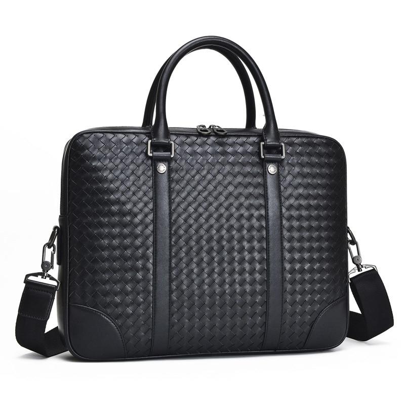 Mens Bag Genuine Leather Briefcase Large Shoulder Bag Woven Fashionable Computer BagMens Bag Genuine Leather Briefcase Large Shoulder Bag Woven Fashionable Computer Bag