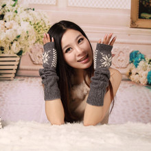 2019 Knitted Gloves Autumn Winter Womens Warm Knitting Embroidered Fingerless Glove For Women Student Girl