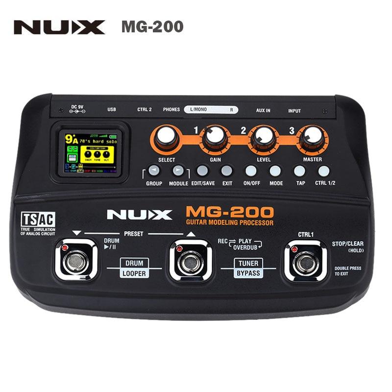 NUX MG-200 EU/US Plug Multi-effects Guitar Modeling Processor 56 drum patterns 72 presets Professional Guitar parts&Accessories wavelets processor