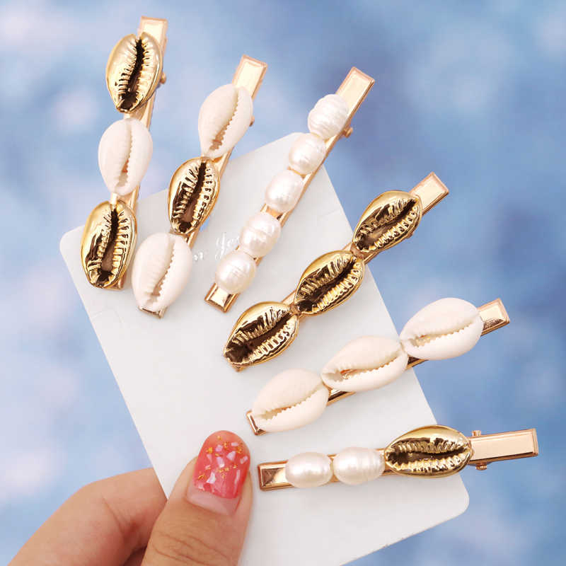 Trendy Seashell Hair Clips Gold Color Women Freshwater Pearls Hair Pins Barrettes 2019 New Hair Accessories Gifts