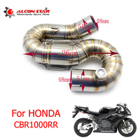Alconstar Slip On For Honda CBR1000RR 2016 2017 Motorcycle Exhaust Muffler Pipe Middle Tube Link Pipe Connector Fit 51mm Escape