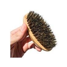 Shaving Boar makeup Hair Bristle Beard Brush Military Round Bamboo Men Brush Strokes Great to Use with Facial Hair Beard Oil