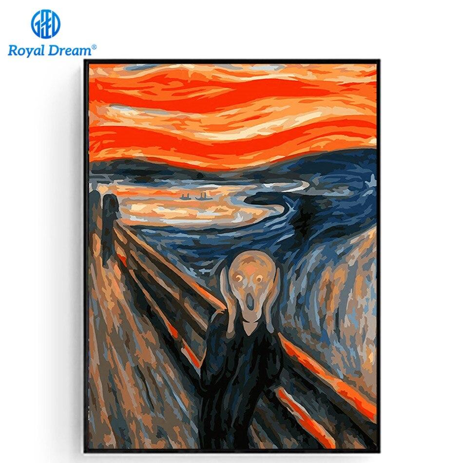 Der Schrei Ölgemälde Durch Zahlen Kits Weltweit Berühmte Ölgemälde von Edvard Munch Kunst Kits für Erwachsene 16x20 zoll