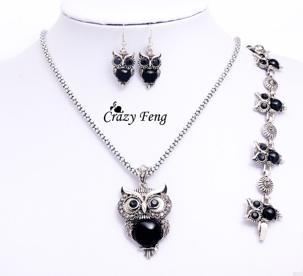 Aliexpress Crazy Feng Women Retro Tibetan Silver Stone Crystal Pendant Necklace Bracelet Earrings Sets Jewelry Free Shipping From Reliable