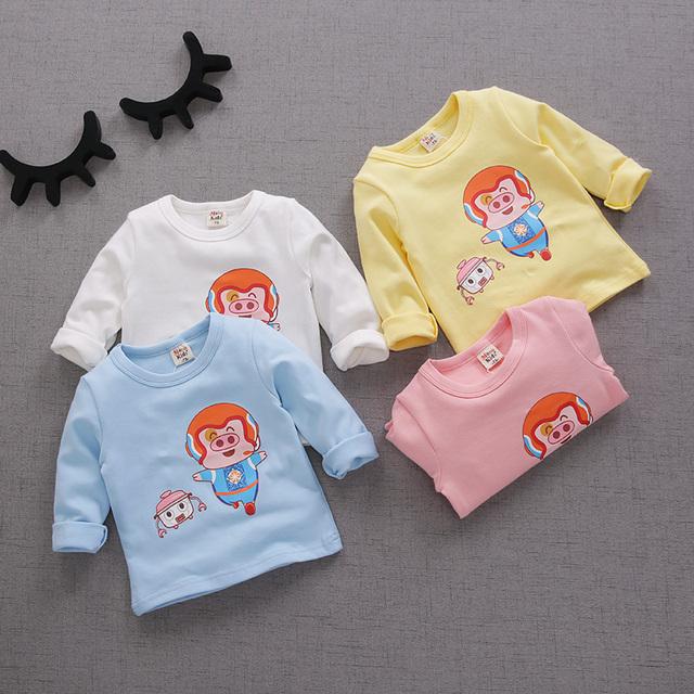 2017 primavera niños niñas de algodón de manga larga camisetas niño linda de la escuela ropa de bebé camisa de los niños básicos ropa para 1-6 año
