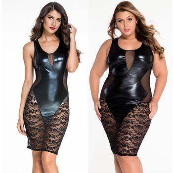 New Top Fashion Women Sleeveless Black Faux Leather Floral Lace Mesh Night Sexy Dress Clubwear Polyester Solid Vicky plus size women in leather